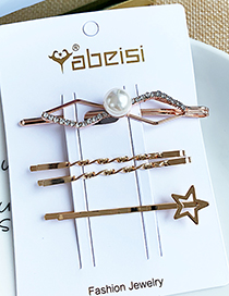 Fashion Small Five-pointed Star Alloy Diamondd Pearl Five-pointed Star Hairpin Set