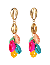 Fashion Color Alloy Resin Shell Earrings