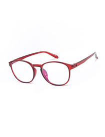 Fashion Red Frame C7 Round Anti-blue Flat Mirror Glasses