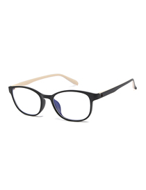 Fashion Black Rice White Box C6 Oval Anti-blue Flat Mirror Glasses