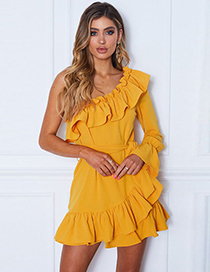 Fashion Yellow Solid Ruffled One-shoulder Lace Dress