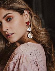 Fashion Red Alloy Drop Oil Love Eye Stud Earrings