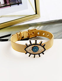 Fashion Gold Stainless Steel Copper Inlay Zircon Black Eyelash Eye Bracelet