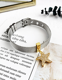 Fashion Silver Stainless Steel Copper Inlay Zircon Starfish Bracelet