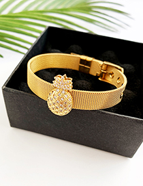 Fashion Gold Stainless Steel Copper Inlay Zircon Pineapple Bracelet