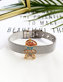 Fashion Silver Stainless Steel Copper Inlay Zircon Color Little Boy Bracelet