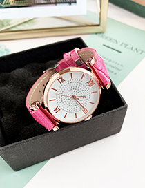 Fashion Rose Red Alloy Pu Electronic Watch