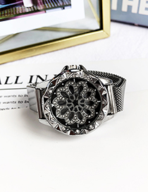 Fashion Silver Alloy Diamond Flower Electronic Watch