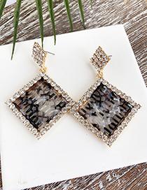 Fashion Black Alloy Diamond-studded Hollow Diamond Stud Earrings