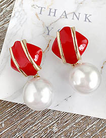 Fashion Red Alloy Pearl Square Earrings