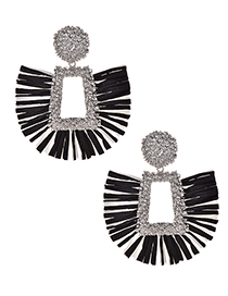 Fashion Silver + Black Alloy Square Lafite Earrings