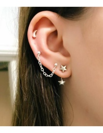 Fashion Silver Star Moon Five-pointed Star Alloy Stud Earring Set
