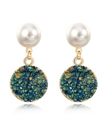 Fashion Ab Color Round Resin Pearl Stud Earrings