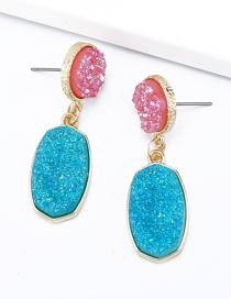 Fashion Blue Alloy Resin Oval Earrings