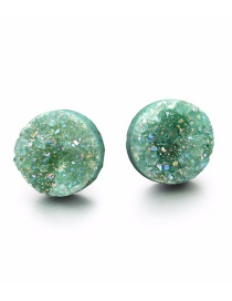 Fashion Green Round Natural Stone Resin Accessories