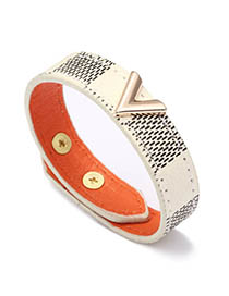 Fashion White V-shaped Leather Striped Bracelet