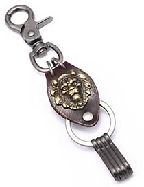Fashion Bronze Leather Rope Woven Metal Lion Keychain
