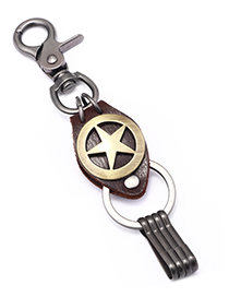 Fashion Bronze Pentagram Keychain