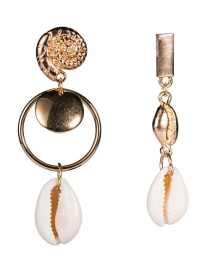 Fashion White Alloy Spiral Shell Asymmetric Earrings Two Pairs