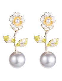 Fashion Yellow Alloy Spray Paint Flower Pearl S925 Silver Needle Earrings