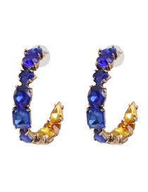 Fashion Blue Glass Drill Inlaid With C-shaped Earrings