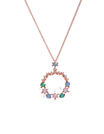Fashion Rose Gold Drip Garland With Diamond Necklace