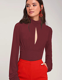 Fashion Red Wine High Collar Open Chest Folds Milk Silk T-shirt
