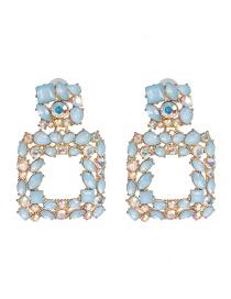 Fashion Blue Geometric Diamond Earrings