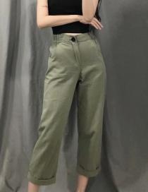 Fashion Armygreen Cotton Washed Pants