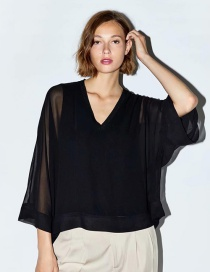 Fashion Black Cape Two-piece Chiffon Top