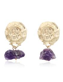 Fashion Purple Irregular Imitation Natural Stone Earrings