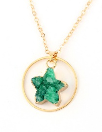 Fashion Green Natural Stone Round Star Necklace