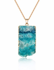 Fashion Green Natural Stone Rectangular Necklace