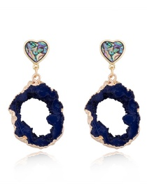 Fashion Blue Heart-shaped Imitation Agate Piece Irregular Hollow Resin Earrings