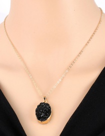 Fashion Black Imitation Natural Stone Oval Resin Necklace