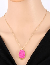 Fashion Rose Red Imitation Natural Stone Oval Resin Necklace
