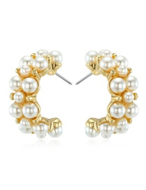 Fashion Golden Large Open Round Pearl Earrings