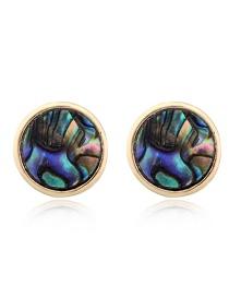 Fashion Colored Circle Imitation Natural Stone Earrings