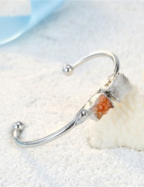 Fashion White Tangerine Square Natural Stone Two-tone Bracelet