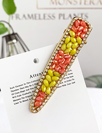 Fashion Orange + Yellow Alloy Resin Beads Duckbill Hairpin