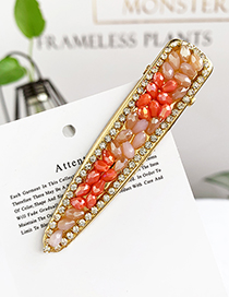 Fashion Orange + Champagne Alloy Resin Beads Duckbill Hairpin