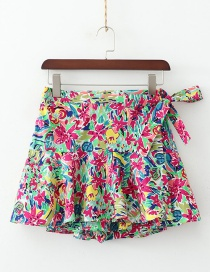 Fashion Color Flower Print A Word With A Short Skirt