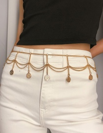 Fashion Gold Multi-layered Embossed Coin Tassel Waist Chain