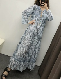 Fashion Blue Floral Print Tassel Lace Dress