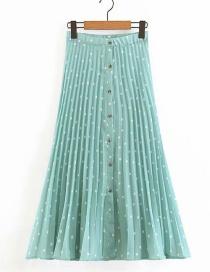 Fashion Green Polka Dot Printed Single-breasted Pleated Skirt