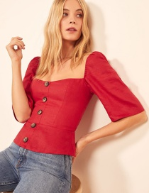 Fashion Red Single-breasted Square Collar Shirt