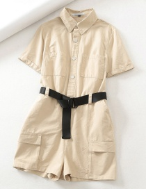 Fashion Khaki Front Buttoned Work Pocket With Belted Jumpsuit