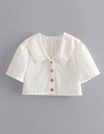 Fashion White Large Lapel Single-row Metal Buckle Short Small Shirt