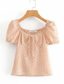 Fashion Pink Daisy Printed Lace-up Short-sleeved Shirt