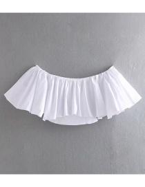 Fashion White Off-the-shoulder Collar Ruffled Shirt